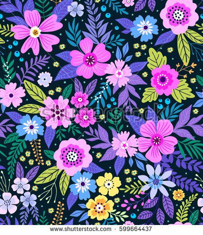 Colourful Folky Floral Wall Art