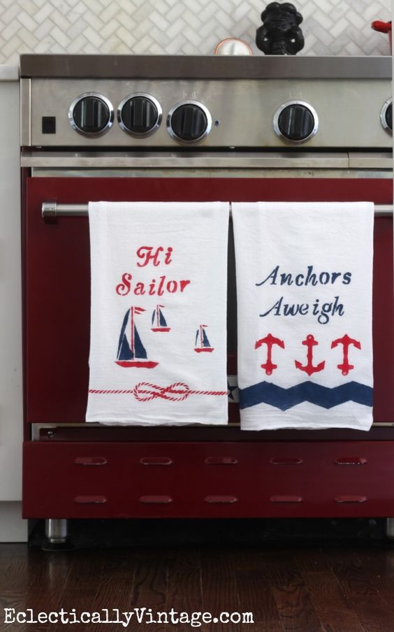 Make these nautical dishtowels and see how to paint on fabric to make it washable! eclecticallyvintage.com