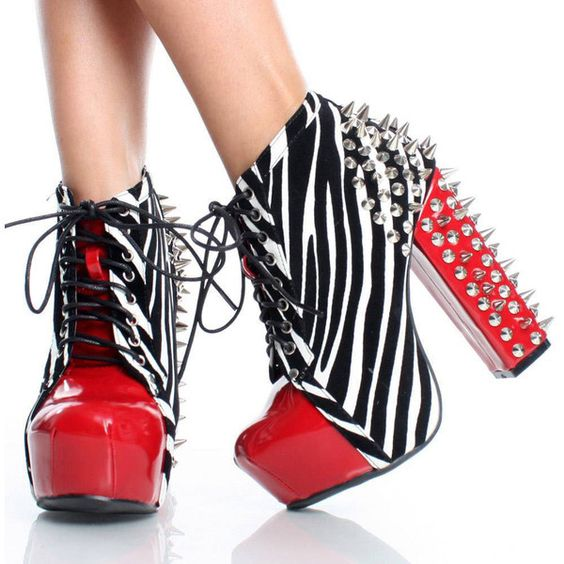 zebra studded boots - Dogpile Images Search ❤ liked on Polyvore
