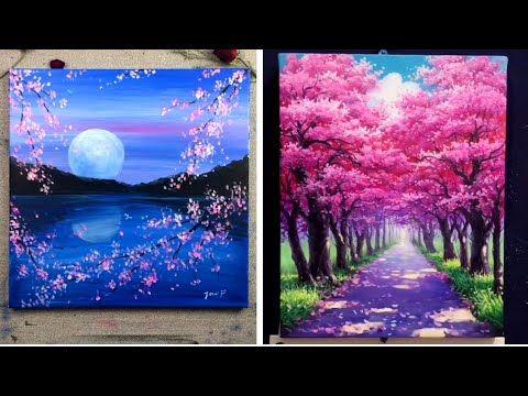 1 5 Cherry Blossom Scenery Paintings For Beginners Easy Painting Ideas Youtube Beautiful Scenery Paintings Scenery Paintings Flower Painting Canvas