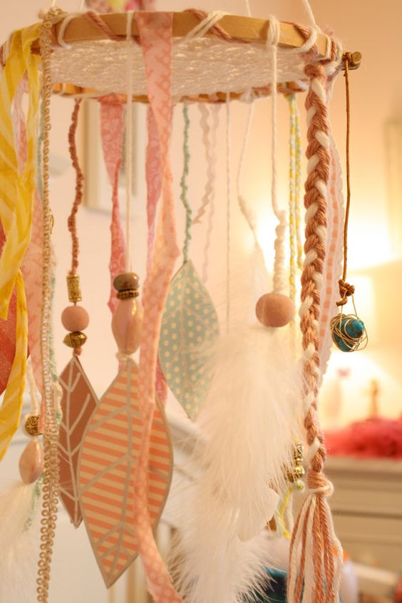 Dream Catcher Shabby Chic Baby Mobile by ScarlettsRose on Etsy, $65.00
