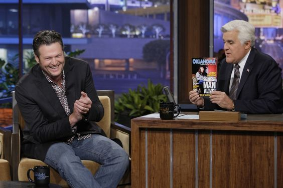 "We bet Miranda Lambert thinks he's the sexiest man alive. Blake Shelton is taunted with a fake magazine on ""The Tonight Show With Jay Leno"" on Nov. 20 in Burbank, Calif.: Man Alive, Jay Leno, Blake Shelton, Alive Blake, Clarkson S Wedding, Sexiest Man"