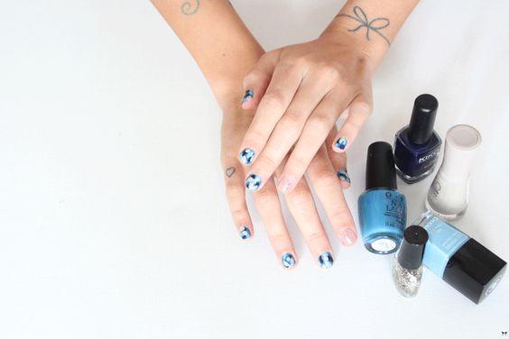 Une touche de rose: blog mode, DIY, cuisine, beauté: Blue Camo nail art :: BEAUTY