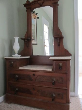 "Antique Marble Dresser.   Previous pinner says:  ""My grandparents had one."""