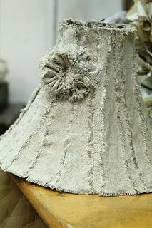 Burlap Lamp Shade w/flower...love this and may have to try making it!