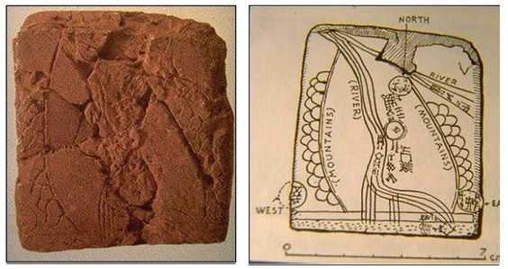 Foto e disegno della Tavoletta di Ga-Sur. Scoperta nel 1930 presso le rovine dell'antica località di Ga-Sur, circa 200 miglia a nord del sito di Babilonia. E' una piccola tavoletta (7,5 x 6,5 cm) che la maggior parte degli studiosi attribuisce all'epoca della dinastia di Sargon di Akkad (2300 - 2500 a.C.).