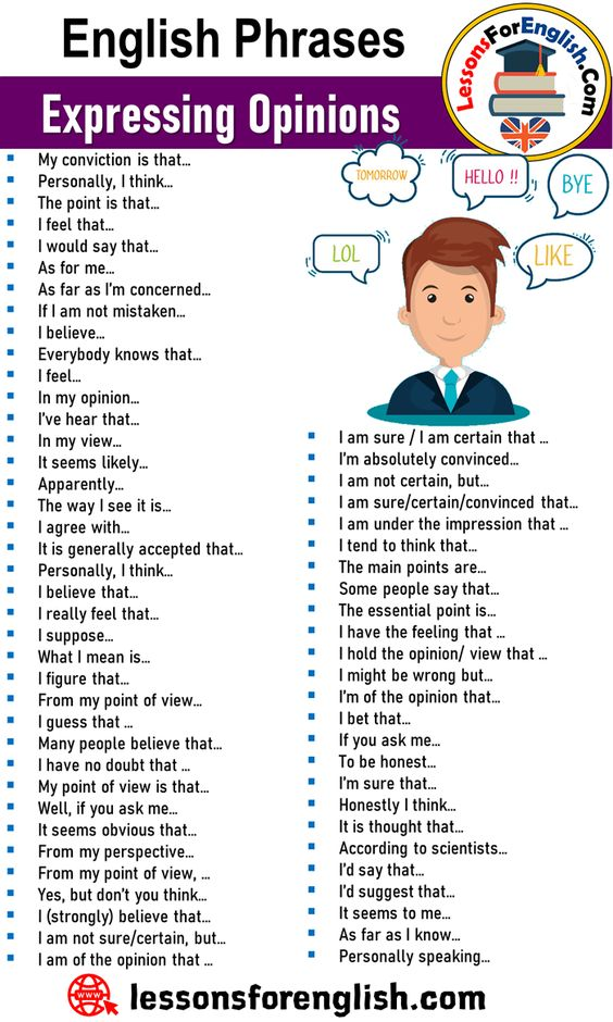 English Phrases – Expressing Opinions I am sure / I am certain that … I'm absolutely convinced… I am not certain, but… I am sure/certain/convinced that… I am under the impression that … I tend to think that… The main points are… Some people say that… The essential point is… I have the feeling that … I hold the opinion/ view that … I might be wrong but… I'm of the opinion that… I bet that… If you ask me… My conviction is that… Personally, I think… The point is that… I feel that… I would say ...