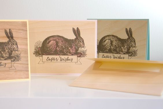 ARC Crafts Blog post for March 21 Easter Bunny Card on Birch Wood. Birch Wood envelopes. #woodpaper ARC March 21 Easter 1