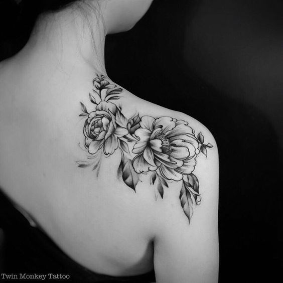 Peonies black and white shoulder tattoo: