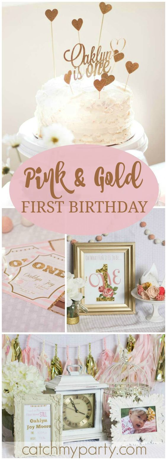 Love this idea for a gold and pink first birthday party! See more party ideas at CatchMyParty.com!