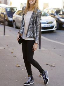 Grey Long Sleeve Sparkely Glittery Cozy Costume Sequined Jacket -SheIn(Sheinside)