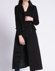 Abrigo solapa doble botonadura bolsillos largo -negro: