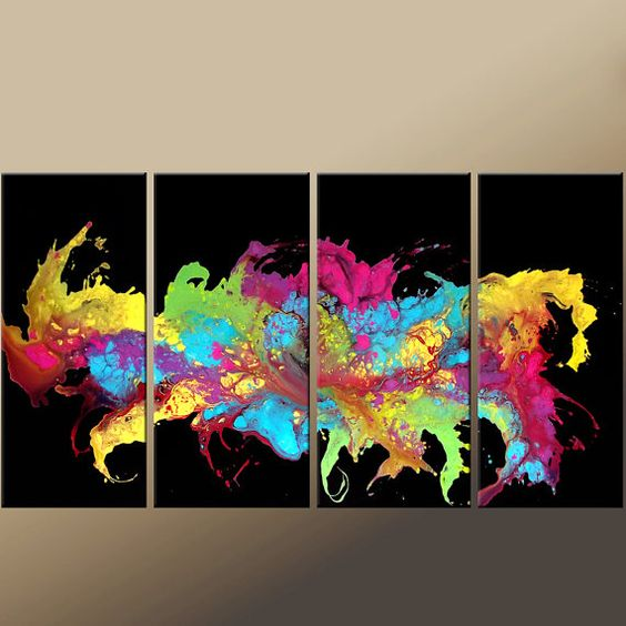 """4 piece Abstract Canvas Art Painting - 72x36 Contemporary Original Modern Art by Destiny Womack entitled """"Rejoice"""" --> The black background really makes the colors pop! Love it!"""