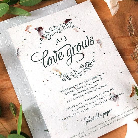 25 Seeds Of Love Wedding Invitations Your Color Choice Flower