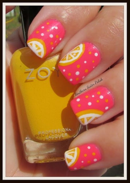Southern Sister Polish: Pink Lemon-aide Nail Art - Click image to find more hair & beauty Pinterest pins