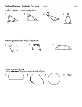 how to find the missing angle of a quadrilateral