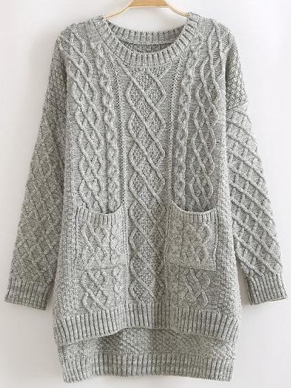 Knitting Pattern Cardigan With Pockets : Grey Round Neck Dip Hem Cable Knit Pockets Sweater Cable, Grey and Knits