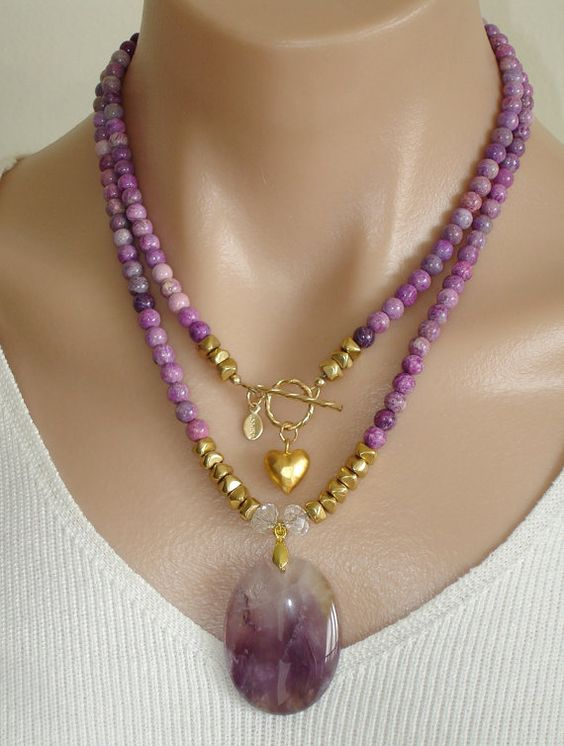 Collar de piedras preciosas de Sugilite de Ashira por AshiraJewelry