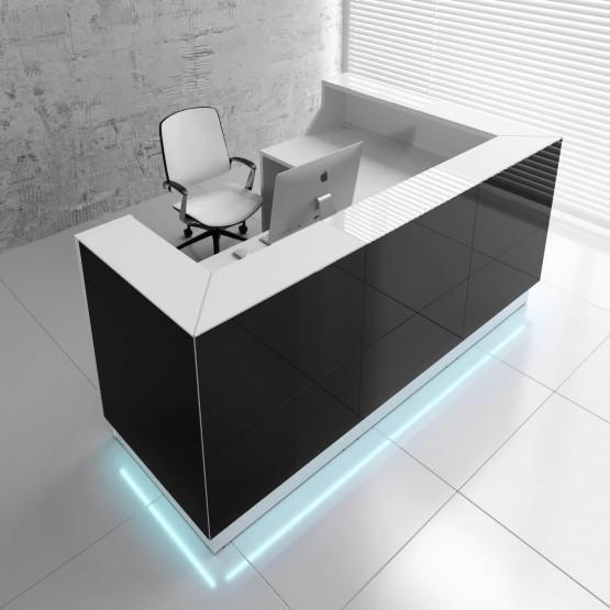 Linea Glass L Shaped Reception Desk W Led Light Reception Desk Design Office Reception Design Modern Reception Desk