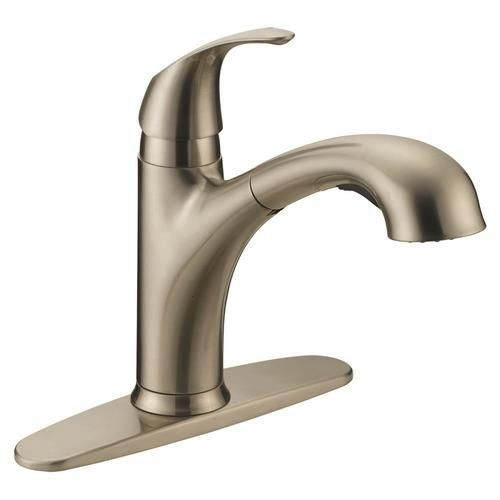 Ez Flo Impressions Brushed Nickel 1 Handle Deck Mount Pull Out Handle Lever Residential Kitchen Faucet Lowes In 2020 Kitchen Faucet Kitchen Faucet With Sprayer Faucet