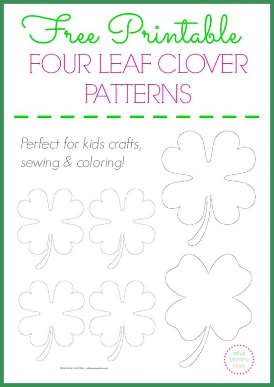 Free Printable Four Leaf Clover Templates Large & Small Patterns to Cut Out Coloring ...