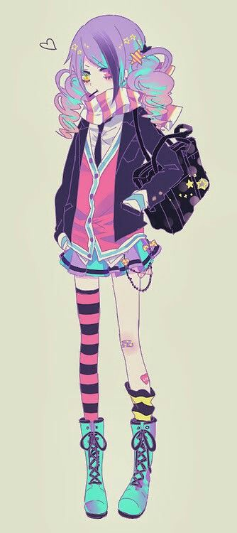 Anime Girl-Very colorful. Death The Kid would have a spasim: