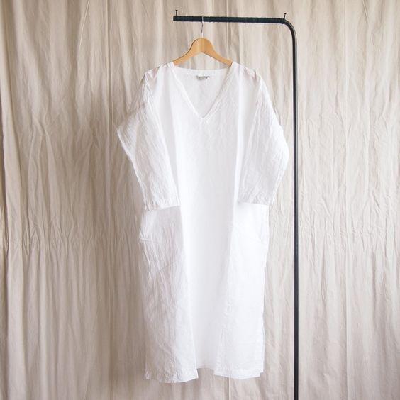 V Neck Dress - linen cotton #white