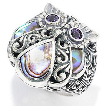 Artisan Silver by Samuel B. Abalone & Amethyst Oxidized Swirl Owl Ring