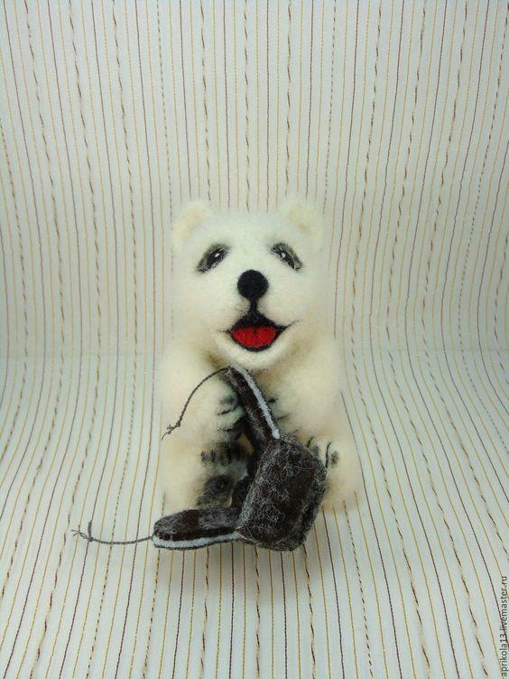 Купить Валяный мишка Умка. Игрушка из шерсти. - белый, мишка Умка, мишка ручной работы