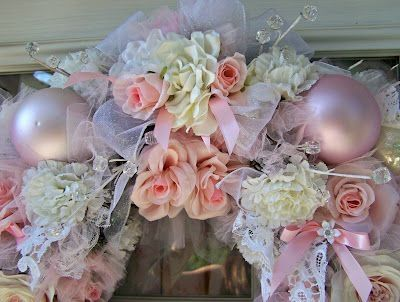 SHABBY CHIC & VICTORIAN CHRISTMAS IDEAS | This wreath is a celebration of hanging on and continuing to do what I ... by robindu