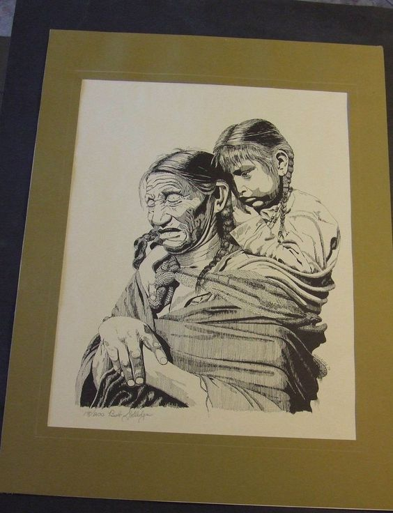 VINTAGE BOB GOLLEDGE AMERICAN INDIAN ETCHING PRINT SIGNED MOTHER AND CHILD 1974