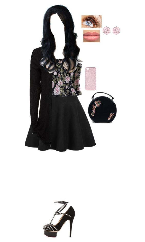 """Chapter 4 Outfit of Bitter Blues, Trying Trues and Losing You"" by carolineleee ❤ liked on Polyvore featuring Alberto Makali, Charlotte Olympia, Topshop and Swarovski"
