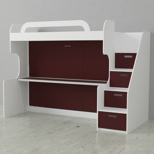 Dbl Bunk Wall Bed White Burnt Red Doors. Space for a Twin size mattress on top up to 6 inches thick; Space for a double size mattress on bottom up to 10 inches thick; White Lacquer finish on body panels, and colorful lacquer finish on door panels; Bed includes steel frame, Panels, Euro Slat Frame and four hydraulic piston mechanism for safety; Euro Slat frames replaces the need for a box spring while giving superior support and comfort; 4 Storage Drawers, each drawer is located under a…