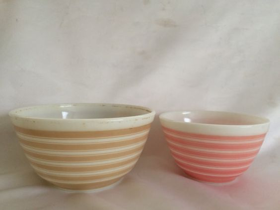 2 Vintage Pyrex Rainbow Stripe Mixing Bowls by ContemporaryVintage