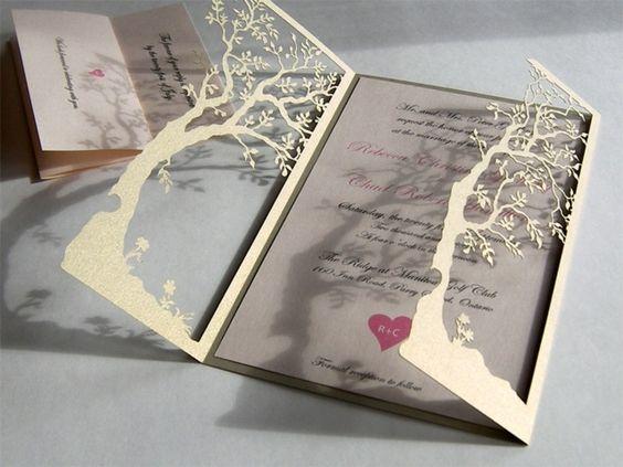 Hochzeitskarte selber bedrücken Baum Klappkarte