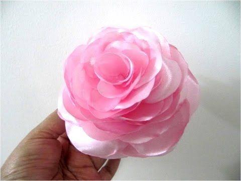 Moños en telas para el cabello flores begonias paso a paso - YouTube