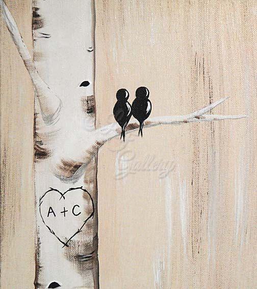 11 x 14 Original Personalized Canvas Painting Aspen Tree Painting Love Bird Painting Birch Tree Art Custom Wedding Gifts for Couple Valentine