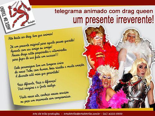 Não basta ser drag, tem que animar! Telegrama Animado com Drag Queen um presente irreverente!