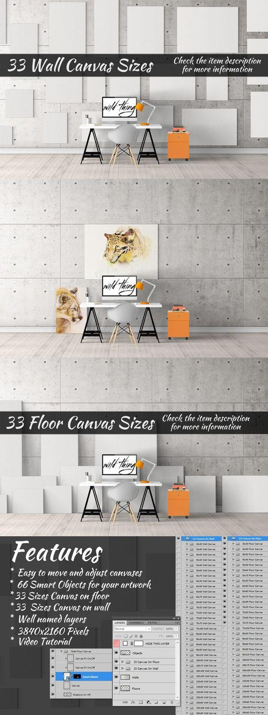 6 poster design photo mockups - Canvas Mockups Vol 36 Creative Business Card Templates 6 00 Designs 6poster