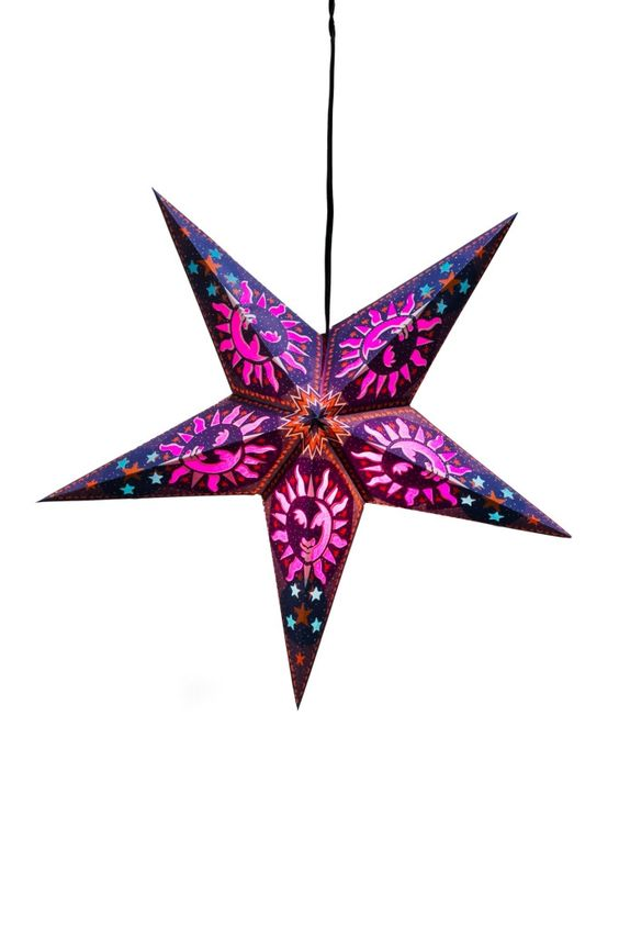 Paper star lantern purple heaven recycled materials for Recycled paper lantern