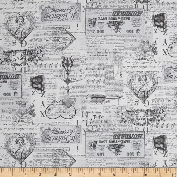 Vintage Valentine Tonal Light Gray from @fabricdotcom  Designed by Anne Was Here for Clothworks, this cotton print collection features sweet love-themed prints. Perfect for quilting, apparel, and home decor accents. Colors include shades of grey.