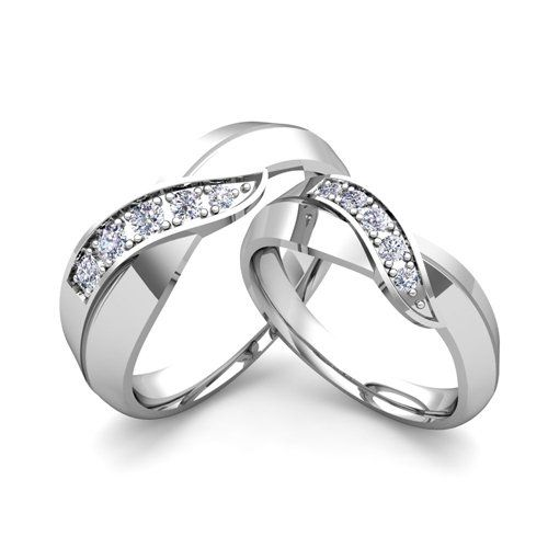 Amazon.com: His and Her Wedding Band Set Platinum Infinity Diamond Wedding Rings Anniversary Ring (Provide us His & Her Ring Sizes When Plac...