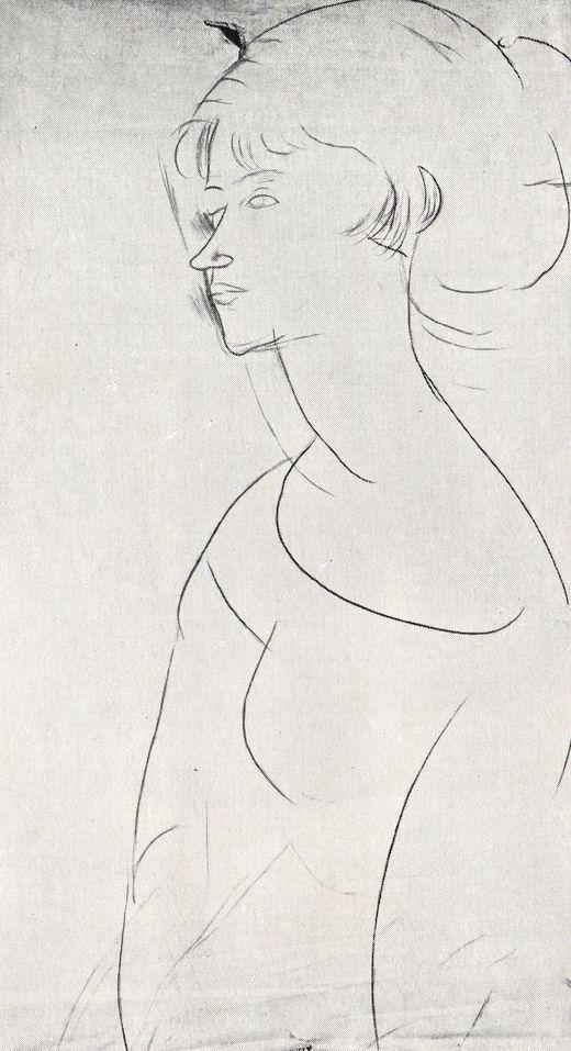Portrait Of Mrs Modigliani By Amedeo Modigliani 1918 Modigliani Amedeo Modigliani Drawings