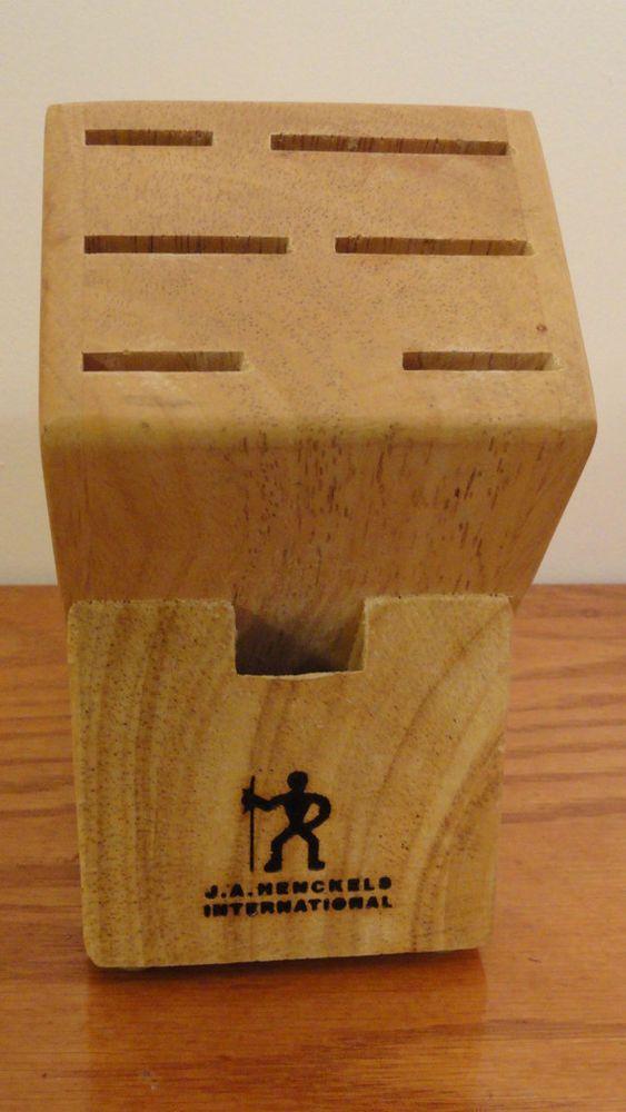J A Henckels BROWN Blonde Wooden Knife Block 7 Slot Chef Cutlery Storage Wood #ZwillingJAHenckels