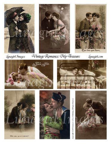 digital collage sheet Victorian romantic vintage photos images couples download cards