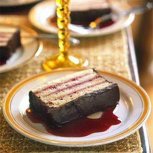 8 Make-Ahead Desserts  | Raspberry-Almond Torte with Chocolate Ganache | MyRecipes.com