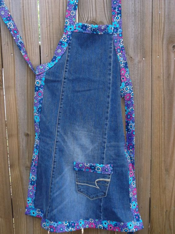 Blue Jean Apron Adult Size 10/12 by SweetiePeas3 on Etsy