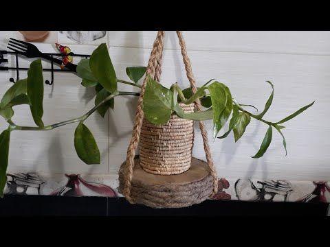كيف تصنع حامل للنبات بحبل الخيش وخشب مسترجع Jute Rope Plant Hanger Youtube Macrame Plant Hanger Plant Hanger Macrame Plant