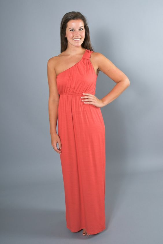 Effortless Elegance Maxi Dress in Coral via The Red Dress Boutique