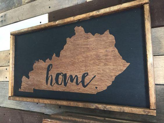 State Sign Kentucky Home Sign Wooden Sign Handmade